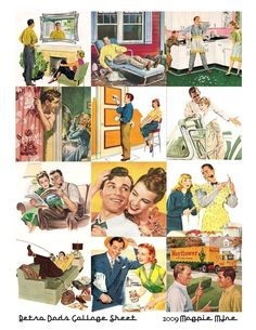 Retro Dads Collage Sheet  Images from the 1950s  by MagpieMine, $4.00