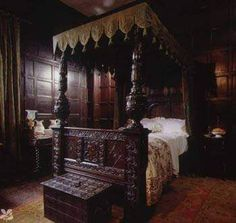 """Via Deborah Harkness' Facebook: On this day, November 1, in SON (Chapter 1): """"My eyes adjusted to the dim light. A substantial bed, a small table, narrow benches, and a single chair came into focus. Through the carved uprights supporting the bed's canopy, I spied a doorway that connected this chamber to another room."""""""