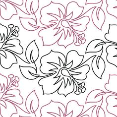 Pink Hibiscus - Digital - Quilts Complete - Continuous Line Quilting Patterns