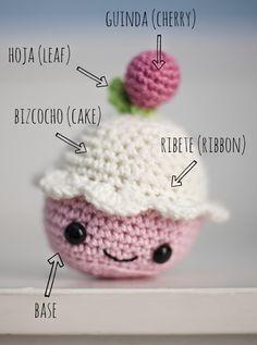 Un cupcake Amigurumi - Patrón Gratis en Español aquí: http://elgallobermejo.blogspot.com.es/2014/06/patrongratiscupcake.html
