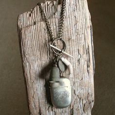 Crown Jewels - Handmade Antique Vesta Case Assemblage Charm Necklace.