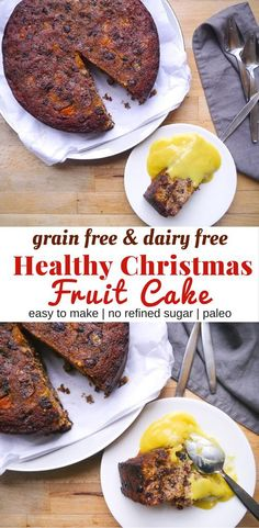 A healthy Christmas cake recipe that's gluten free dairy free and grain free using nuts and coconut flour. Easy to make! A healthy Christmas cake recipe that's gluten free dairy free and grain free using nuts and coconut flour. Easy to make! Paleo Dessert, Dessert Recipes, Paleo Xmas Cake, Gluten Free Xmas Cake, Christmas Rum Cake Recipe, Fruit Cake Recipes, Gluten Free Cakes, Dinner Recipes, Easy Cake Recipes