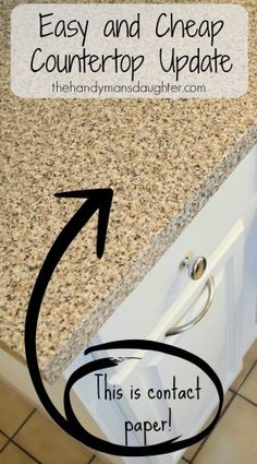 Looking for a cheap and easy update to your countertops? Try contact paper in a faux granite or marble pattern for an instant change! - thehandymansdaughter.com