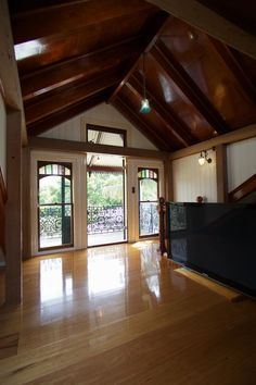 Beautiful timber cathedral ceiling with exposed beams.