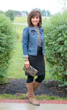 Styling a pencil skirt for fall with leggings and brown boots.