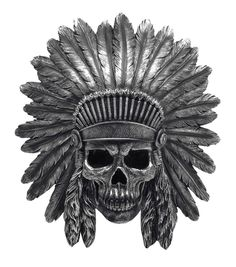 Indian Chief Skull In Headdress Wall Mount