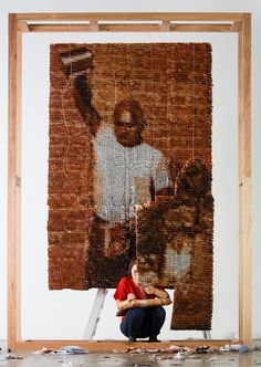 red hong yi composes portrait of teh tarik man with 20,000 teabags