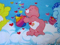 Care Bears Flat Bed Sheet Full Size Vintage Rainbow Hearts Bear Sweet Dreams USA #Unbranded