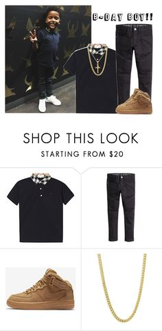 """""""Daddy bought me my first gold chain for my birthday! Today is my party!!"""" by thefam-fashion ❤ liked on Polyvore featuring NIKE"""