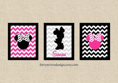 Set of 3 Minnie Mouse Pink Chevron Custom Name Printable Wall Art by FortySevenDesign, $8.00