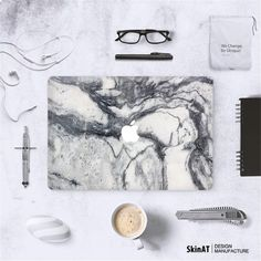 Dark Gray Marble Grain Front Cover Laptop Decal Sticker Case For Apple Macbook Air Pro 11 13 15 Inch Guard Protective Cover Skin