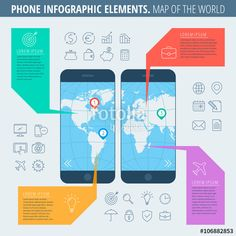 "Download the royalty-free vector ""Infographic elements and business icons set. Flat line illustration of a smartphone with a map of the world on the phone screen. Infographic vector flat design template, infographic icons, diagram map"" designed by peart at the lowest price on Fotolia.com. Browse our cheap image bank online to find the perfect stock vector for your marketing projects!"
