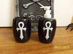 Gothic ankh toothbrush holder and soap pump set by BatsandBones, $14.99