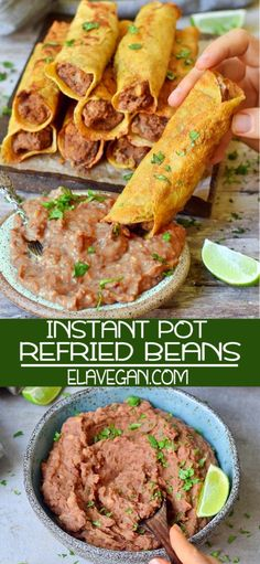 These Instant Pot Refried Beans are easy to make in a pressure cooker. Recipe is vegan, gluten-free & tasty. Use for any Mexican dishes, such as taquitos! Mexican Dishes, Mexican Food Recipes, Whole Food Recipes, Instant Pot Pressure Cooker, Pressure Cooker Recipes, Pressure Cooking, Slow Cooker, Nachos, Instant Pot Refried Beans Recipe