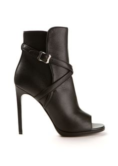 SAINT LAURENT Saint Laurent Jane Black Grained Leather Ankle Boots. #saintlaurent #shoes #