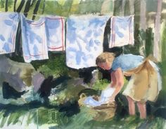 Washing Tea Towels - New paintings by Brita Granstrom at Twenty Twenty Gallery in Much Wenlock outside Birmingham. Laundry Art, Painting People, Religious Art, Types Of Art, Beautiful Paintings, Washing Clothes, Picture Photo, Painting & Drawing, Illustrators