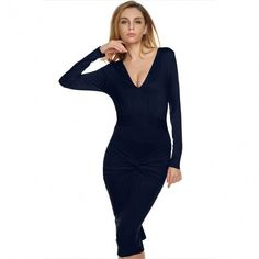Women Lady Long Sleeve Deep V Neck High Waist Sexy Bodycon Solid Casual Party Dress