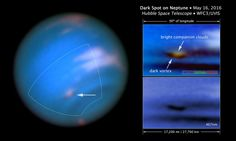 New images confirm the presence of a dark vortex on Neptune. Though similar features were seen during the Voyager 2 flyby of NASA's Hubble Space Telescope in 1989 and by Hubble in 1994, this vortex is the first one observed on Neptune in the 21st century.
