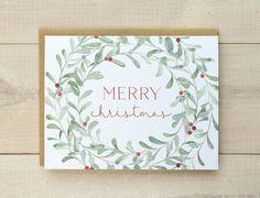 Christmas Card Set, Christmas Wreath Cards, Watercolor Christmas Cards, Floral…