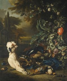 Jan Weenix - Still Life of Gamebirds, a Stag and Flowers