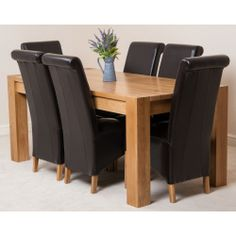 Kuba Solid Oak Dining Table  6 Brown Montana Leather Chairs