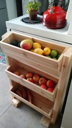 produce stand dyi - Küche - Cedar produce stand dyi - Küche -Cedar produce stand dyi - Küche - Cedar produce stand dyi - Küche - Tilt-Out or Pull-Out Trashcan (in Pantry, and turned length-wise to fit space) Rustic Wooden Spice Rack Kitchen Pantry Storage, Diy Kitchen, Kitchen Decor, Kitchen Cart, Kitchen Hacks, Kitchen Cabinets, Dyi, Kmart Decor, Produce Stand