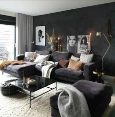 Your new living room. Do you love dark interiors as much as we do? New Living Room, Living Room Modern, Home And Living, Living Room Decor, Stylish Home Decor, Unique Home Decor, Cheap Home Decor, Wholesale Home Decor, Home Remodeling Diy