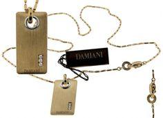 www.jewelrybydavid.com Damiani diamond dog tag in 18K Yellow gold new. link to the item https://www.jewelrybydavid.com/collections/damiani/products/damiani-diamond-dog-tag-in-18k-yellow-gold-new-1