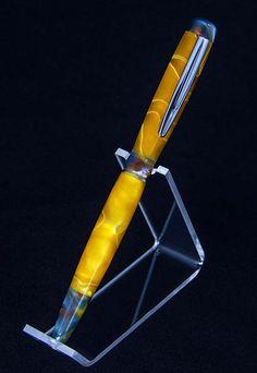 "Custom ""Modified"" Slimline Ballpoint Pen in Yellow/Gold Swirl Acrylic"