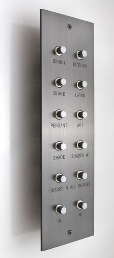 Meljac Plate, Twelve Push Buttons, etching on the plate Vintage Industrial, Industrial Design, Home Automation, Interior And Exterior, Interior Design, Hardware, House Design, Lights, Detail
