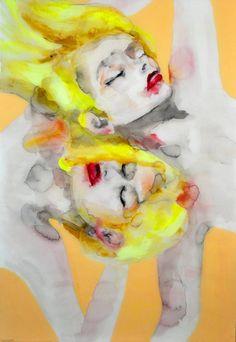 Sunbathers by Lisa Krannichfeld (contemporary), American - watercolor artist (saatchiart)
