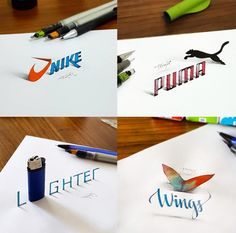 Istanbul-based graphic designer Tolga Girgin (previously) continues to experiment with 3D calligraphic letterforms by adding shading and photographing his pieces from just the right perspective. The effect is uncanny as the logos, words, and figures seem to curl up and hover just above the page of his sketchbook.