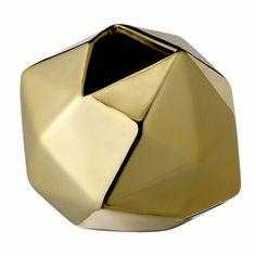 Danish Gold Geometric Ceramic Vase