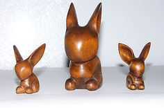 wooden carved rabbit | eBay
