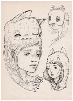 Cats on my mind / doodles / by luiza kwiatkowska, via Behance. This is cute! (not mine, btw.)
