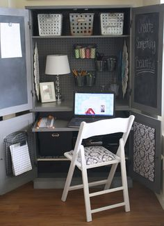 A Diamond in the Stuff: Plain Armoire into Office Space  CONVERTING CUP BOARD SPACE INTO AN OFFICE... Got to do this... it will make my life sooo much easier!! Hubby dearest, I see another project for you coming up....