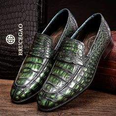 Handcrafted Genuine Alligator Leather Penny Slip-On Leather Lined Loafer-Green Dope Outfits For Guys, Gentleman Shoes, Handmade Leather Shoes, Mens Boots Fashion, Unique Shoes, Casual Boots, Dress Shoes, Men Dress, Loafers Men