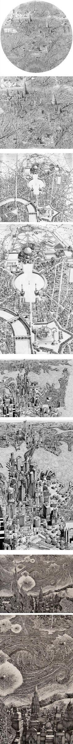 Benjamin Sack's incredibly detailed drawings of imaginary cityscapes.