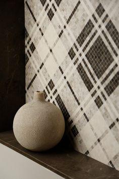 Balmoral Plaid Silver Stone, Dark Olive, Ephesus Dune (H) | Products | AKDO Tile Dealers Marble Look Tile, Marble Mosaic, Stone Mosaic, Stone Tiles, Mosaic Tiles, Wall Tiles, Mosaics, Dune, Restroom Design