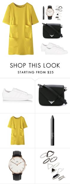 """""""i'm in love with that yellow dress"""" by abbbyyyy ❤ liked on Polyvore featuring adidas Originals, Alexander Wang, WithChic, NARS Cosmetics, Daniel Wellington and Topshop"""