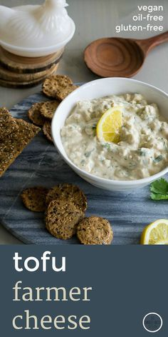 """Tangy, creamy plant-based """"farmer cheese"""" is oil-free and gluten-free. Takes only a few minutes to make. Recipe is at An Unrefined Vegan."""