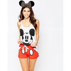 Missimo Disney Mickey Mouse Short Pyjama Set ($33) ❤ liked on Polyvore featuring intimates, sleepwear, pajamas, red, red pajamas, red pjs, short pajamas, mickey mouse sleepwear and short pajama set
