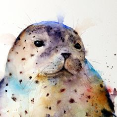 HARBOR SEAL Watercolor Print by Dean Crouser door DeanCrouserArt