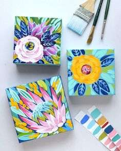 I'm trying something fun and fresh. a Spring Pop-Up Sale right here! I have 12 bright and beautiful small floral paintings on my studio… Mini Paintings, Floral Paintings, Bright Paintings, Mini Canvas Art, Acrylic Art, Painting Inspiration, Diy Art, Painting & Drawing, Flower Art