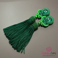 Green soutache earrings Emerald II greenery tassel