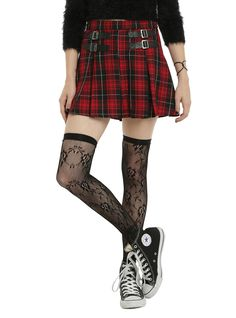 <p>There are so many ways to wear a red plaid skirt, it makes it an essential for nearly everyone! Wear it punk with your favorite band tee, knee high socks and combat boots. Go gothwith a mesh shirt, corset and fishnets. Dress it up with a button up, Peter Pan collar shirt, ankle socks and saddle shoes. The possibilites are endless! Red and black plaid pleated skirt with faux leather black faux buckles. Side zipper and clasp closure.</p>  <ul> <li>65% polyester; 35% rayon</li> ...