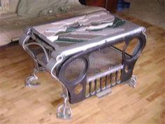 Jeep coffee table Garage, ideas, man cave, workshop, organization, organize, home, house, indoor, storage, woodwork, design, tool, mechanic, auto, shelving, car.