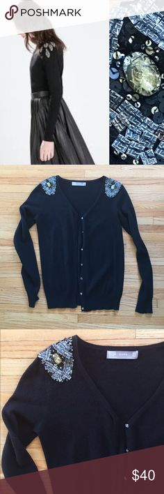 """Zara jeweled shoulder cardigan Black cardigan from Zara with embellished shoulders. Snap front. No condition issues, gently worn, just dry cleaned. Cotton/nylon/viscose/angora/wool. Length from shoulder is about 24"""". Armpit to armpit flat is 17"""". Zara Sweaters Cardigans"""