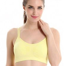CuteOn Girls Criss Cross Comfort Pushup Padded Sport Bra Yoga Bra Yellow L ** Continue to the product at the image link.Note:It is affiliate link to Amazon.
