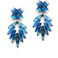 Rental Dannijo Simon Earrings ($55) ❤ liked on Polyvore featuring jewelry, earrings, blue, clear crystal earrings, clear earrings, blue statement earrings, clear jewelry and dannijo